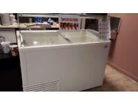 Used cake display corner, ice cream freezer, open refrigerated display
