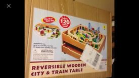 Wooden train set and table