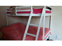 Quality White Solid Wooden Wood 3 Triple Sleeper Bunk Bed Double & Single Size