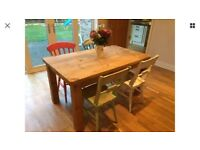 Solid wood dining room kitchen table & chairs