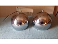 Art Deco Pendant Silver Ball Lights x 2