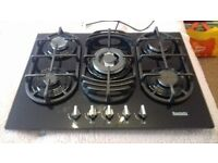 Baumatic BGG70 vantage ceramic black glass 5 ring gas hob.