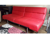 Red Clic-Clac Sofa Bed, Faux Leather