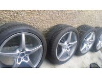 17 inch very PANTA STYLE eye catching beautiful looking alloys with good tyres 5 × 100. Audi vw skod