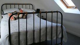 Vintage gold & black cast iron standard double bed frame
