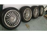 "BK racing 17"" 5x100 5x112 alloy wheels + 4 tyres!! Mercedes VW Audi Seat Toyota Skoda"
