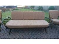 An ercol daybed studio couch and 2 matching ercol chairs