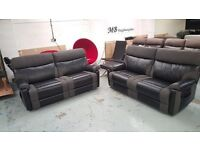NEW ScS RALPH BLACK & GREY PAIR OF 3 SEATER MANUAL RECLINER SOFAS **CAN DELIVER**