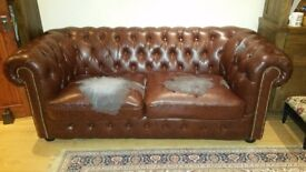 Chesterfield brown sofas 3 seater and 2 seater FREE