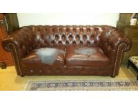 Chesterfield brown sofas 3 seater and 2 seater,