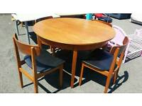 Retro teak dining table and X4 chairs