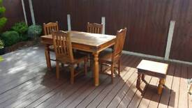 Solid wood dining table 4 chairs coffee table