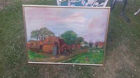 Original oil painting of farm buildings in Wood Street nesr Guildford