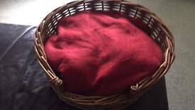 Small wicker basket pet bed cat or dog