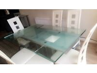 EXTENDING GLASS DINING TABLE WITH 6 CHAIRS £200