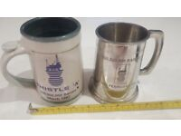 North Sea Oil Thistle Alpha Tankards - One Pottery and One English Pewter