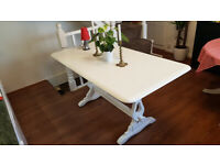 Original Farmhouse Style Cottage Kitchen Table In White Seller Refurbished