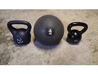 HIIT 12kg Cast Iron/Vinyl Kettlebell set and Slam Ball lot