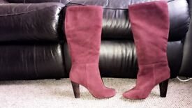 Real suede maroon size 3 boots