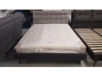 GREY FABRIC KING SIZE BED WITH LARGE CUSHIONED HEADBOARD **CAN DELIVER**