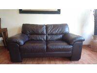 Two and three seater suite / couch / sofa brown real leather