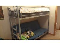 Bunk bed with sofa bed underneath, mattress and cushions included