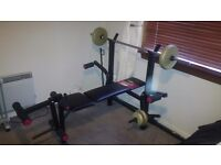York 315 Weight Bench, York Lateral Tower Attachment & Weights (15.8kg)