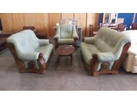 Light green leather 3 seater with 2 seater and electric recliner chair wooden framed suite