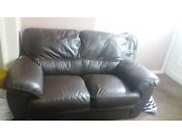3 & 2 brown leather settee