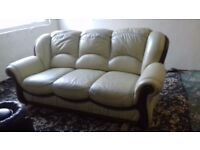 FREE Two 3 Seater Sofa Cream Leather