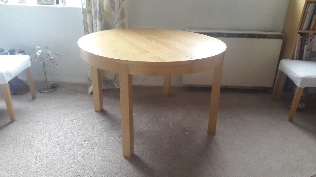 Ikea Bjursta Round extendable dining table beech in Prestwich