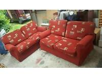 Excellent condition red and gold fabric 2x 2 seater