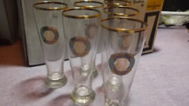 6 x Rastal Valentins Weizenbier Glasses with real Gold Rim