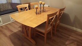 Elegant Extending Dining Table & 6 Cross Back Chairs FREE DELIVERY (03948)