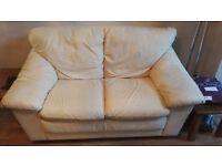 Leather Cream Coloured 2 Seater Sofa