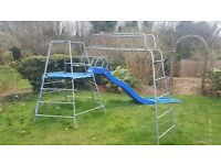 TP climbing frame, monkey run, slide and swing set