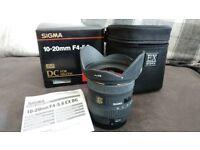 SIGMA EX 10-20mm F4-5.6 EX DC HSM SUPER WIDE ANGLE LENS for CANON DSLR