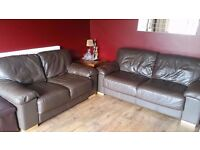 2 and 3 Seater Sofas Brown Leather