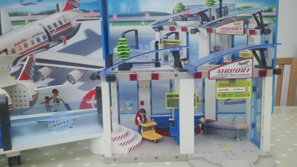 Playmobil Airport And Jet Plane Set With Original Boxes