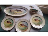 Vintage F. Winkle & Co Ltd Wheldon Ware painted fish plates (9), platter, and sauce boat