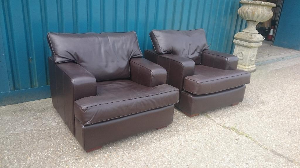 Two Lovely Brown Leather Multiyork Armchairs In Arundel