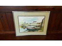 original watercolour of Seaton Sluice by Ronald Moore