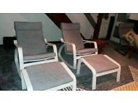Ikea poang rocking chairs with foot rest
