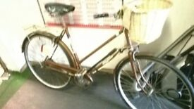 VINTAGE TOWN BIKE, NEW WICKER BASKET AND TYRES FULLY RESTORED