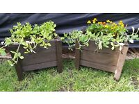 UNCOLLECTED ORDER 2X HANDMADE PLANTERS WITH FLOWERS
