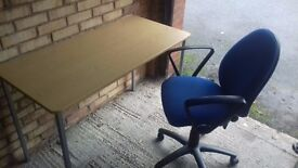 Beech Office Desk and Blue Office Chair