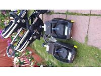 icandy double pram with 2 isofix inc in price