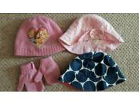 Selection of girls winter and summer hats from age 1-2