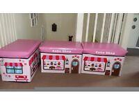 3 x Kids Pink Storage Seat Stools