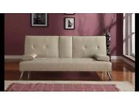 Reel faux cream leather sofa bed with Bluetooth speakers